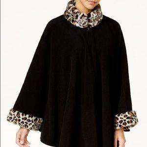 Cejon Leopard-Print Faux-Fur & Fleece Cape
